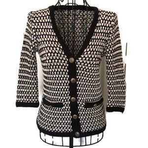 Cabi 100% Cotton Knit V Neck Cardigan Sweater